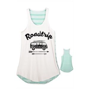 Road Trip Mint Striped A-line Tank Top NWT SML